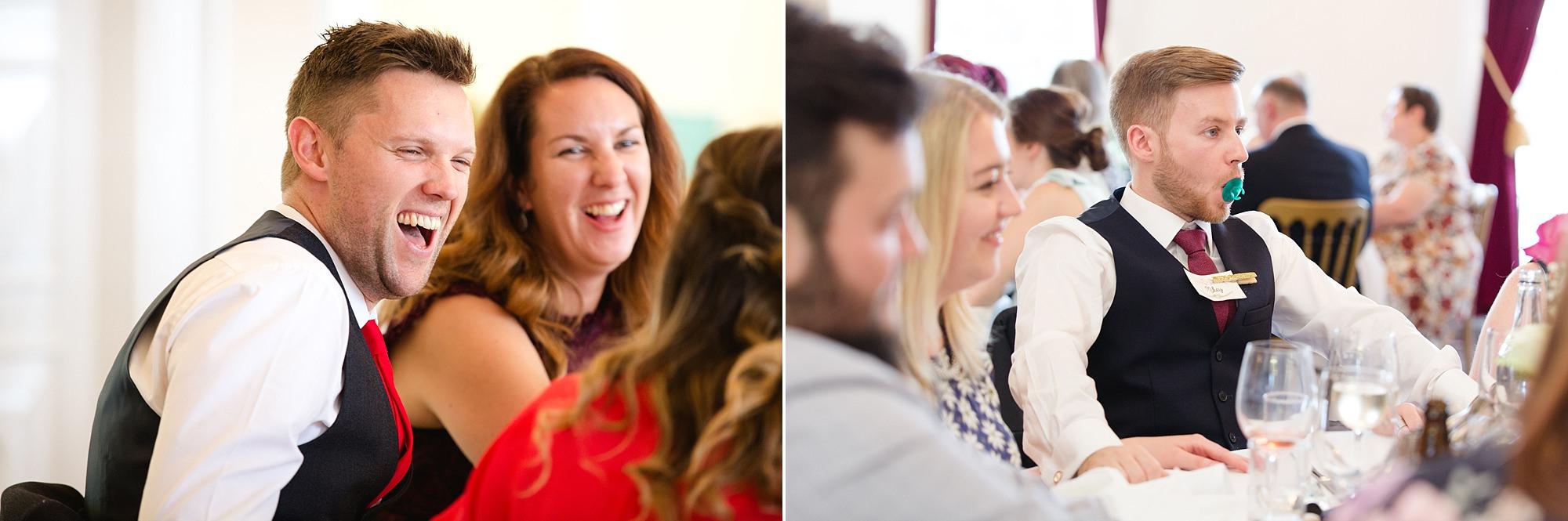 Trafalgar Tavern wedding guests laughing during meal