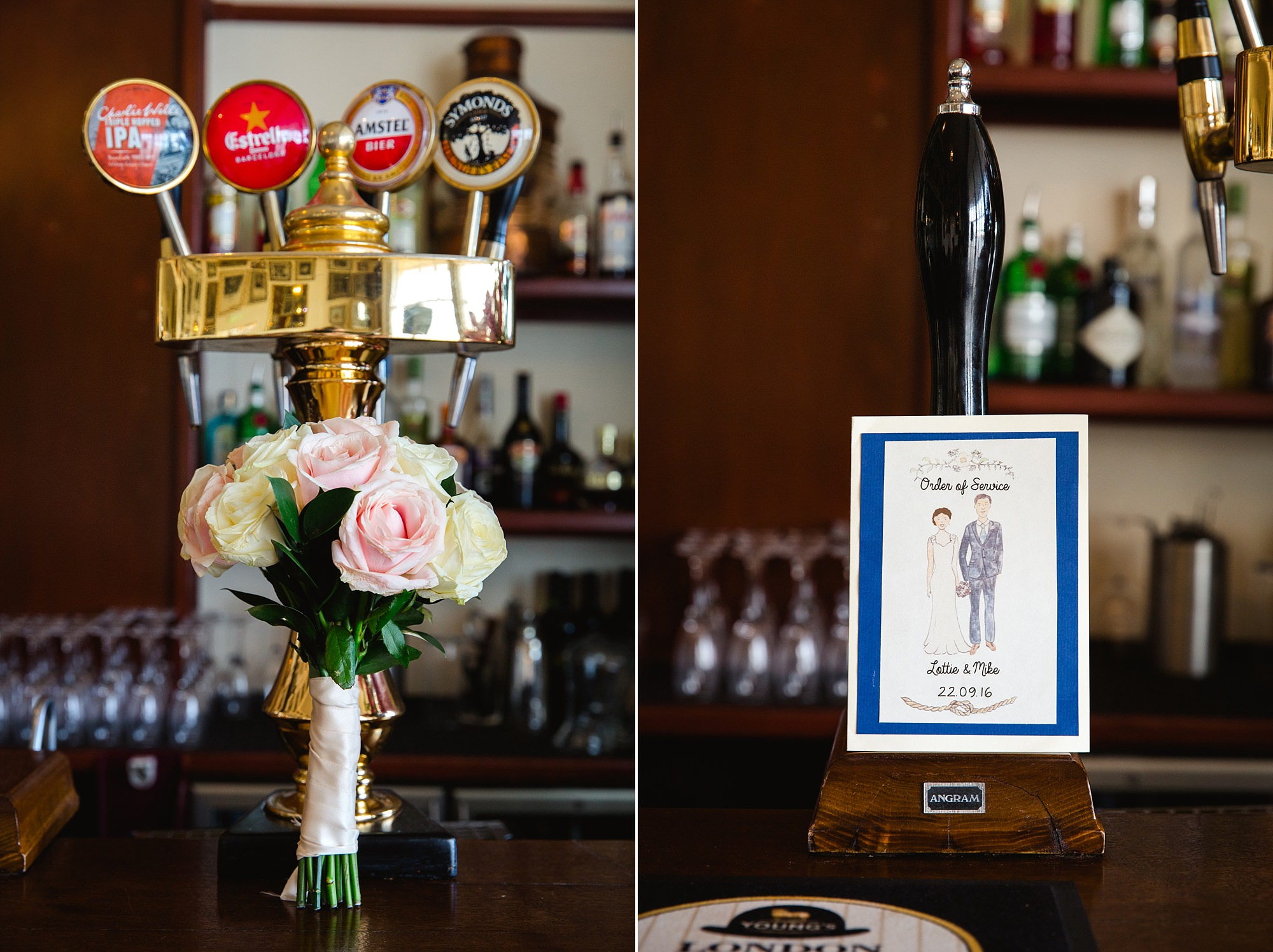 Trafalgar Tavern wedding bouquet and invitation details