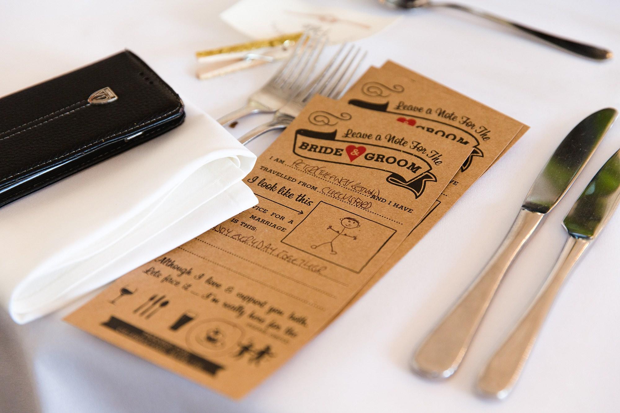 Trafalgar Tavern wedding advice for bride and groom cards