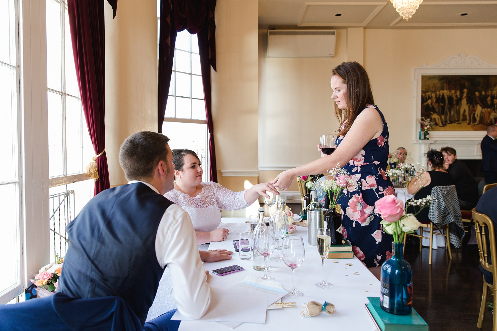 Trafalgar Tavern wedding bride showing off her wedding ring