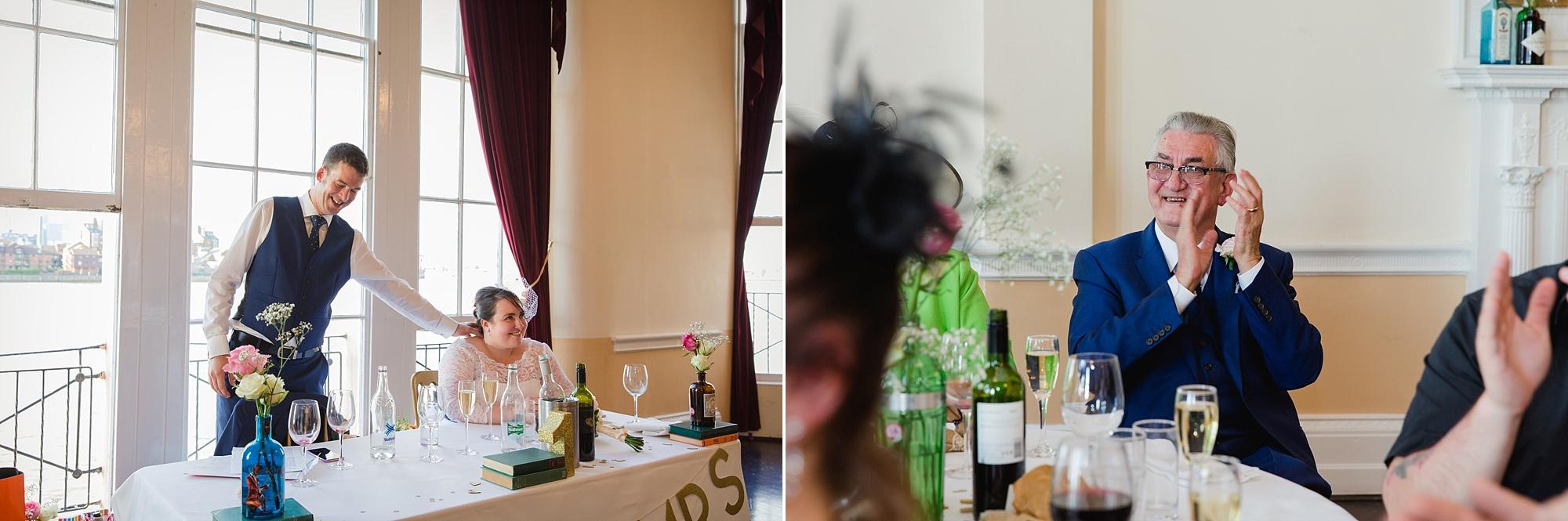 Trafalgar Tavern wedding groom giving speech