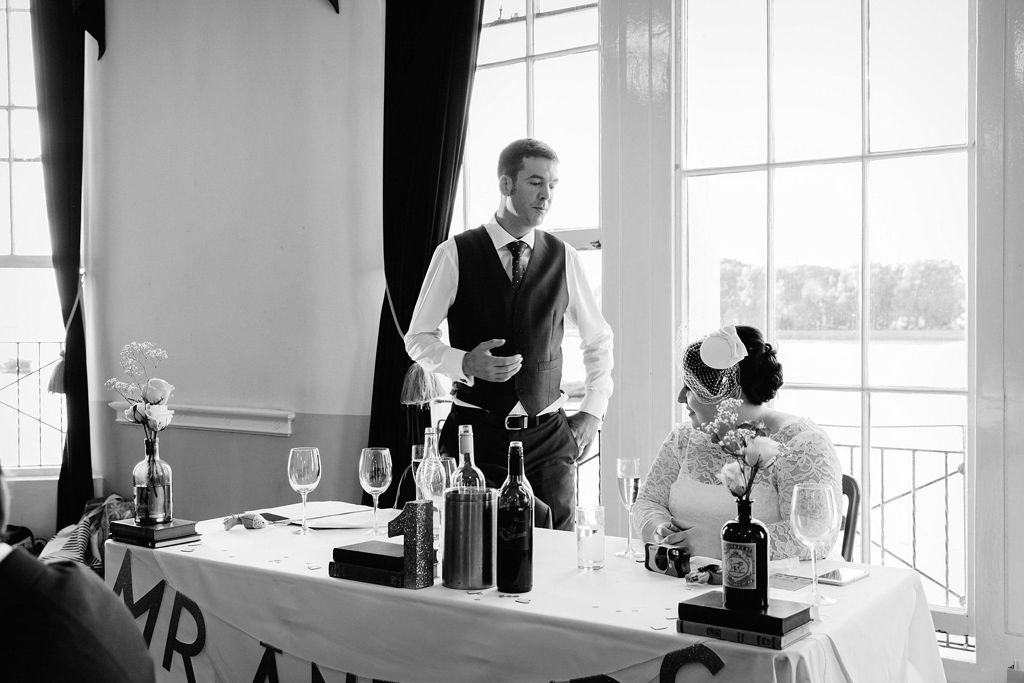 Trafalgar Tavern wedding groom giving speech to bride