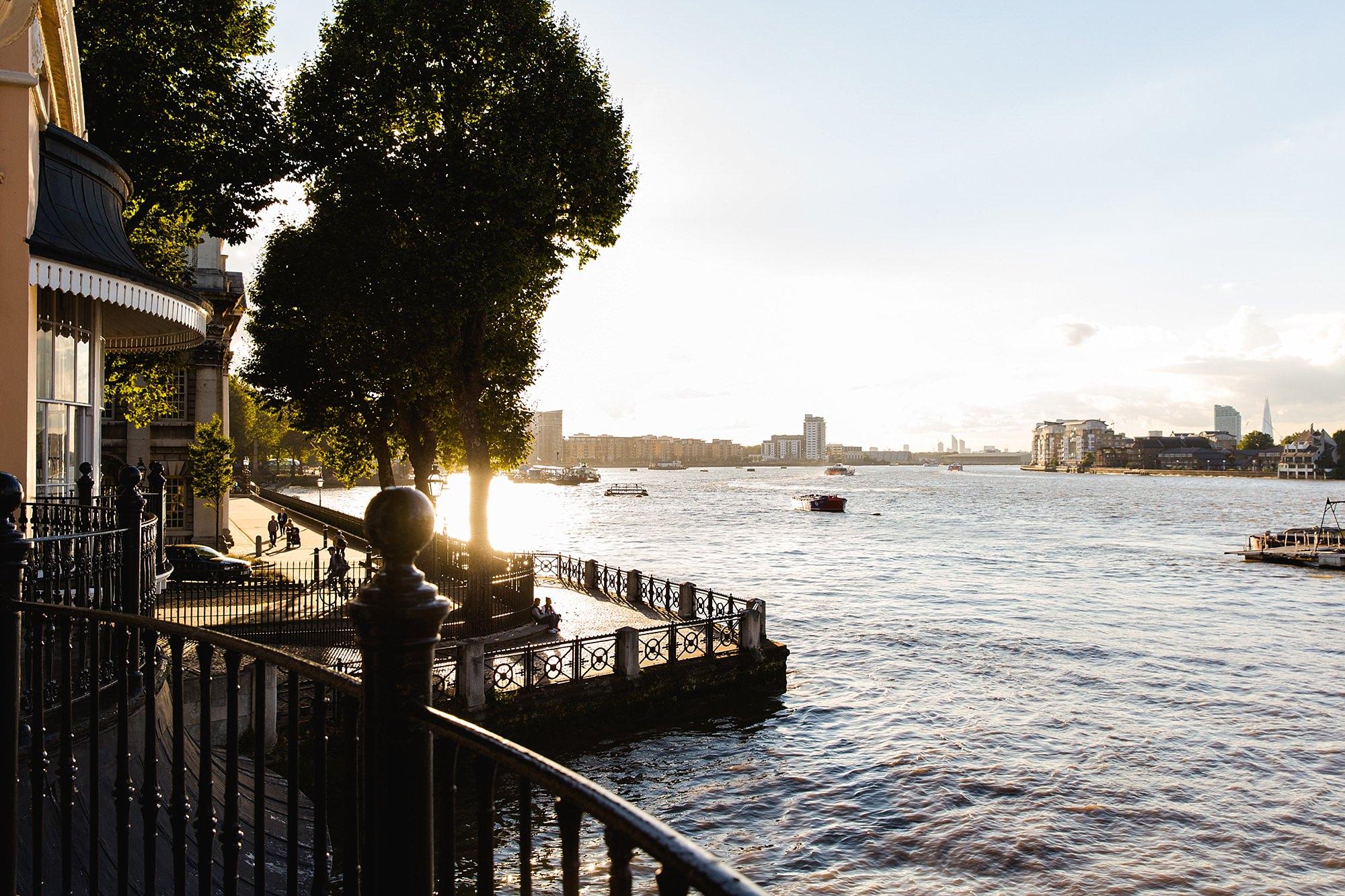 Trafalgar Tavern wedding view of golden hour over the river Thames
