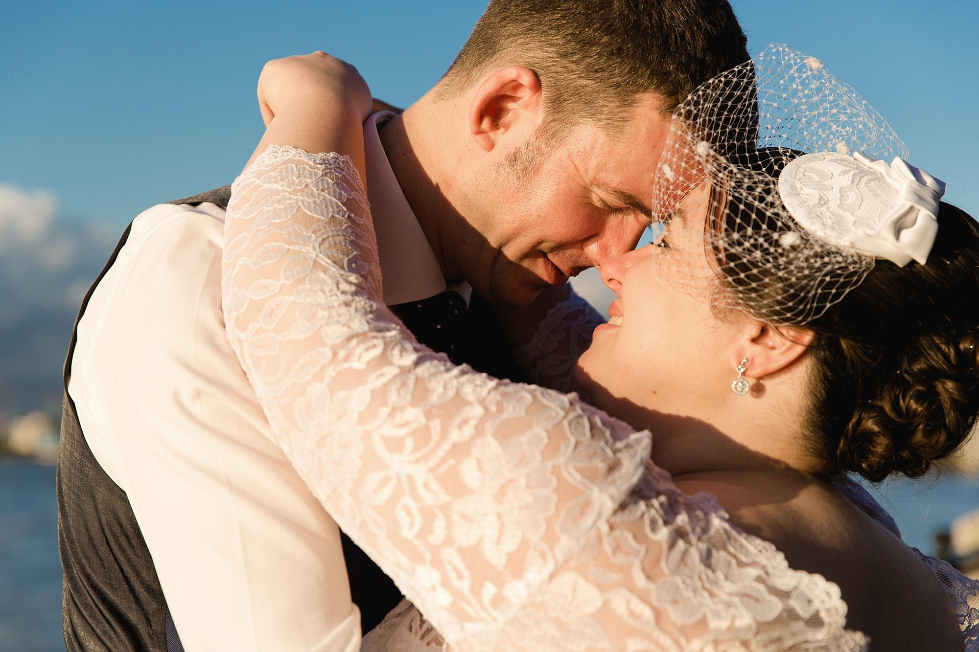 Trafalgar Tavern wedding bride and groom close up portrait