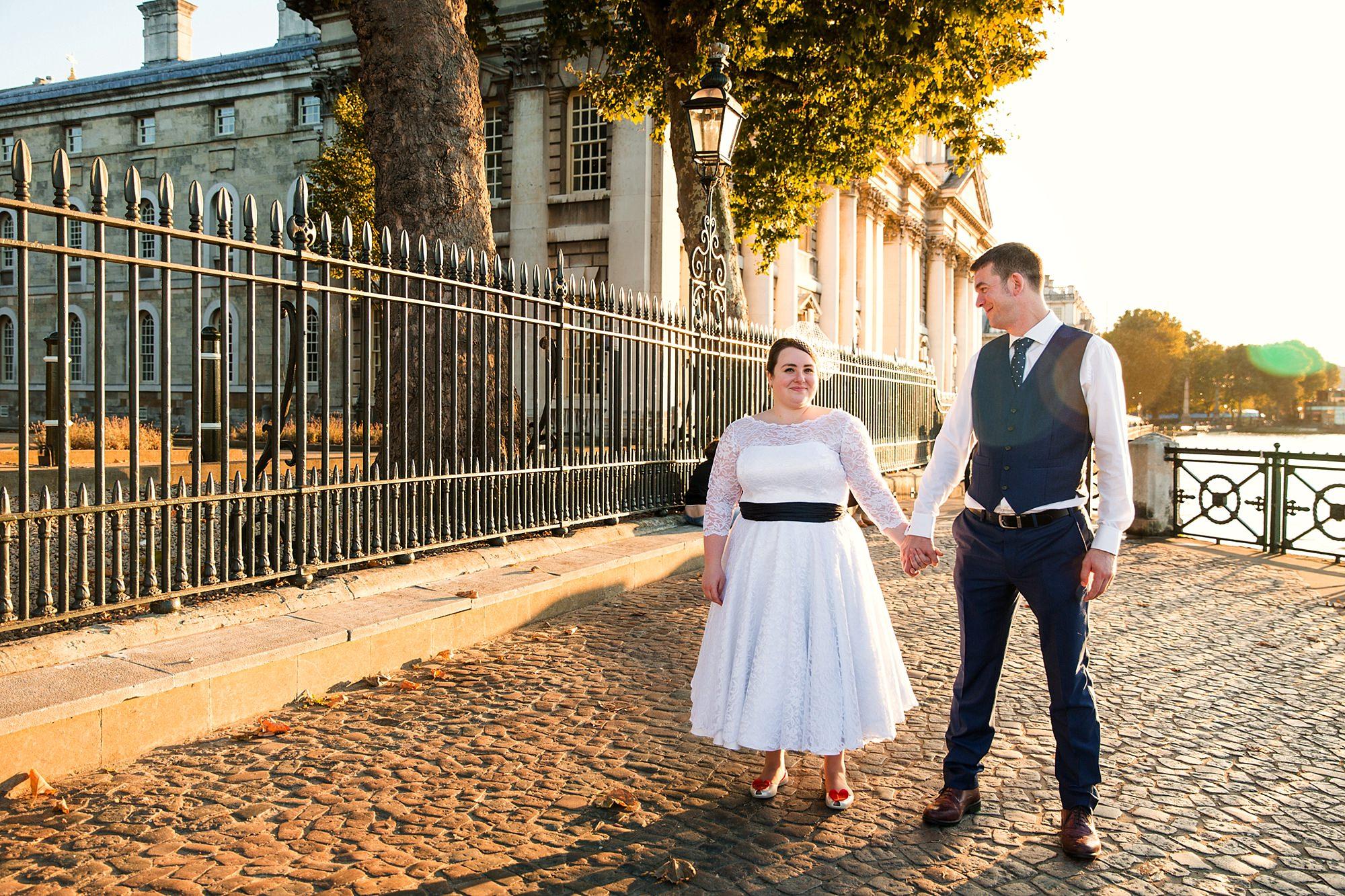 Trafalgar Tavern wedding bride and groom during golden hour in London