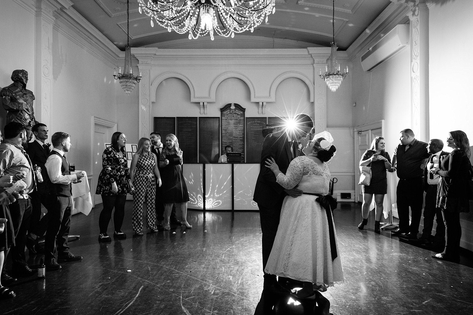 Trafalgar Tavern wedding black and white portrait of first dance
