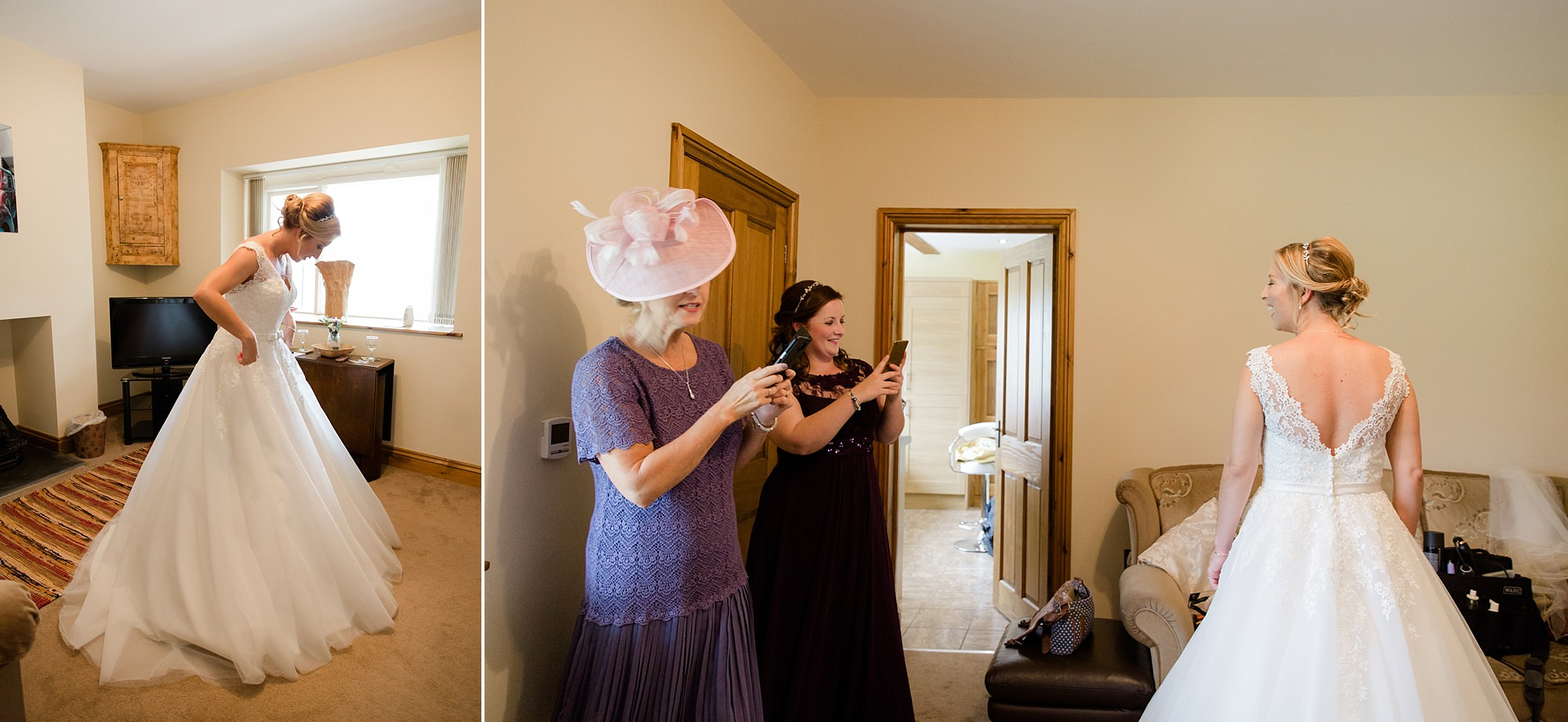 A fun wedding at Plas Isaf - bride and family get ready