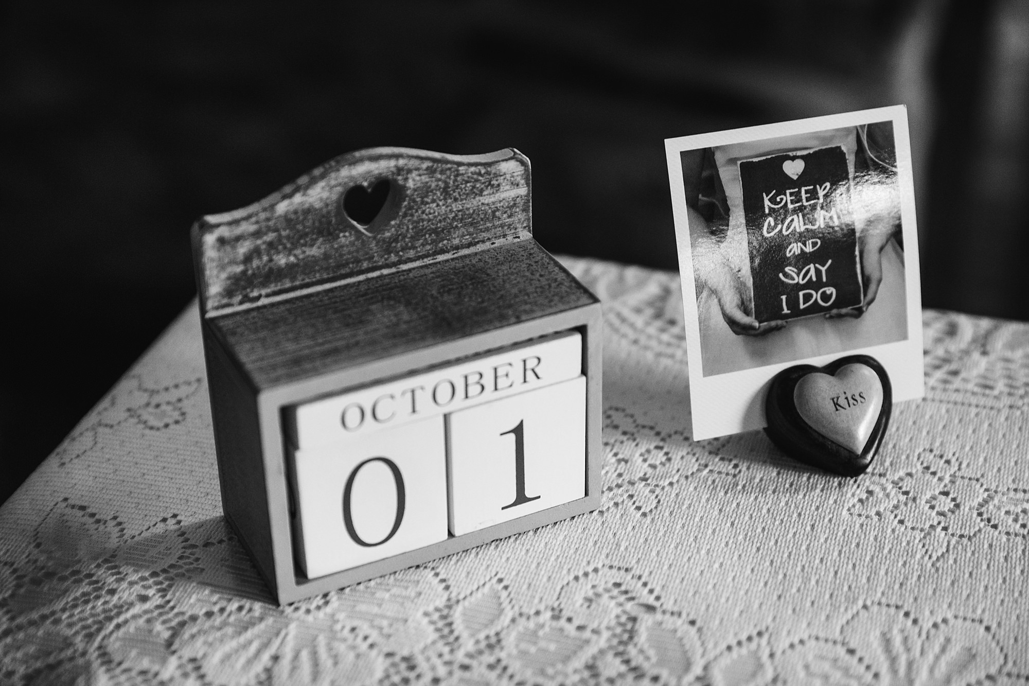 A fun wedding table decoration with wedding date at Plas Isaf