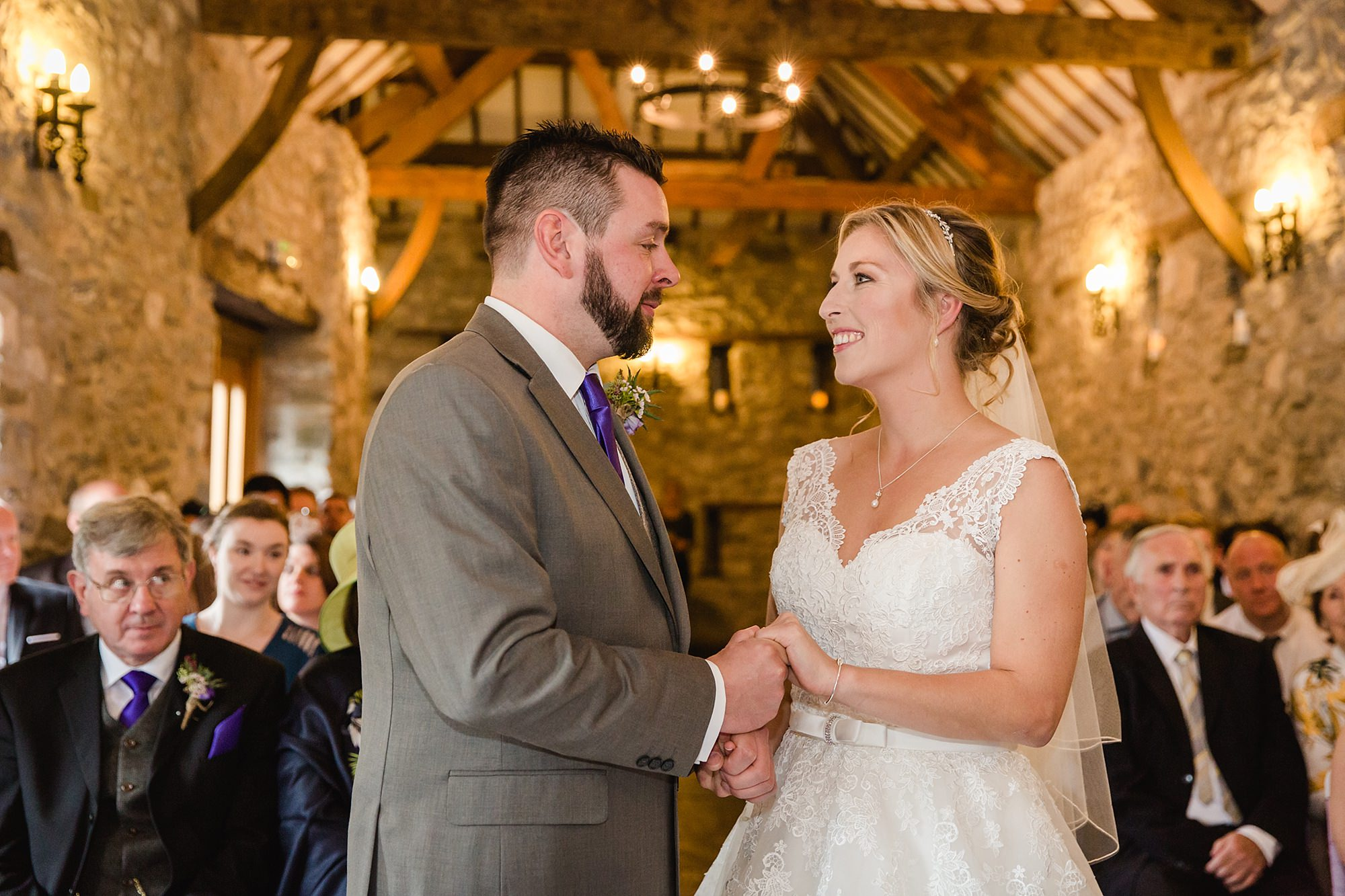 A fun wedding at Plas Isaf portrait of bride and groom during ceremony