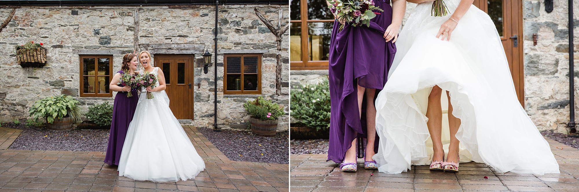 A fun wedding at Plas Isaf bride and bridesmaid showing off their shoes
