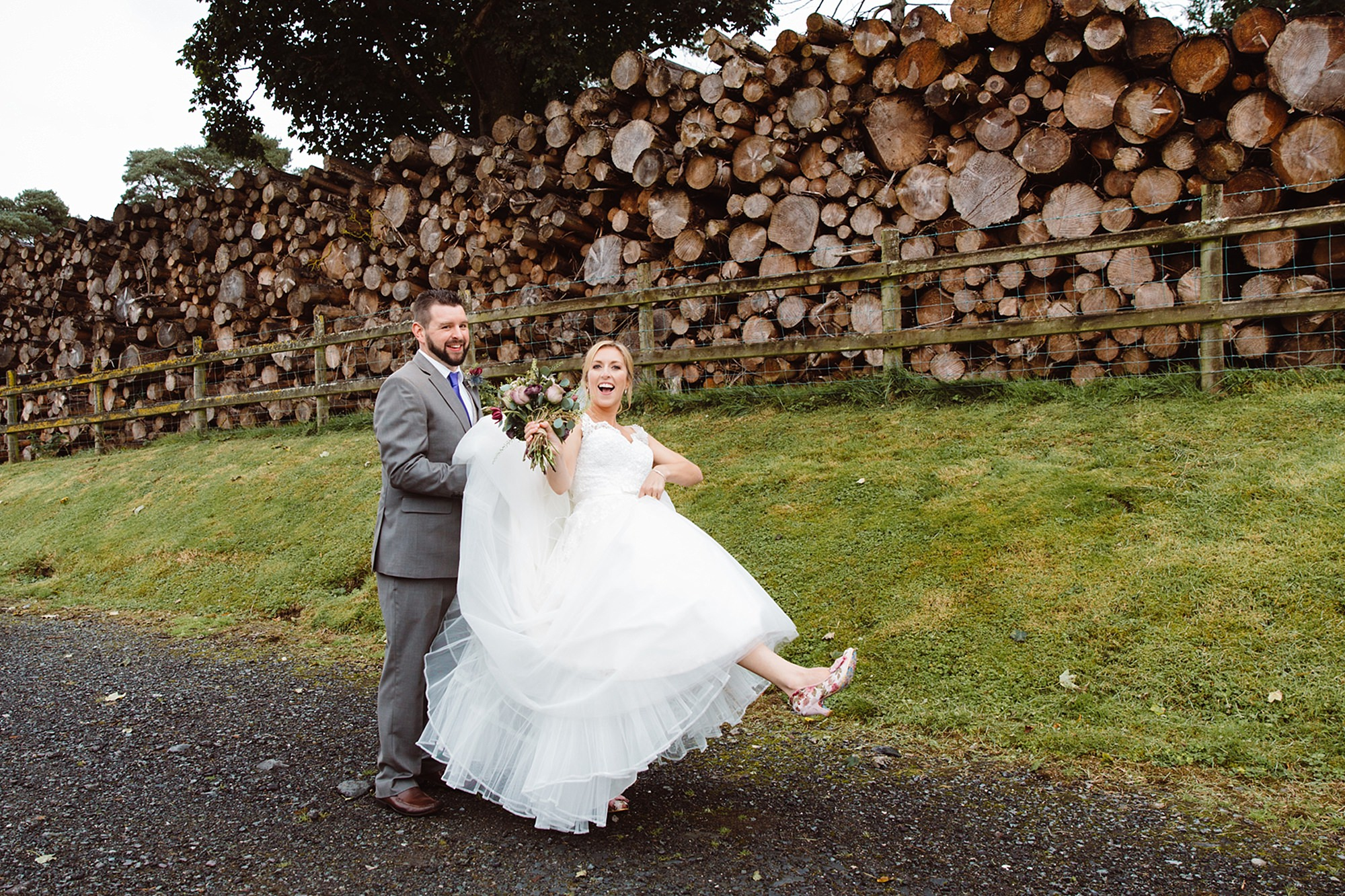 A fun wedding portrait of bride and groom at Plas Isaf