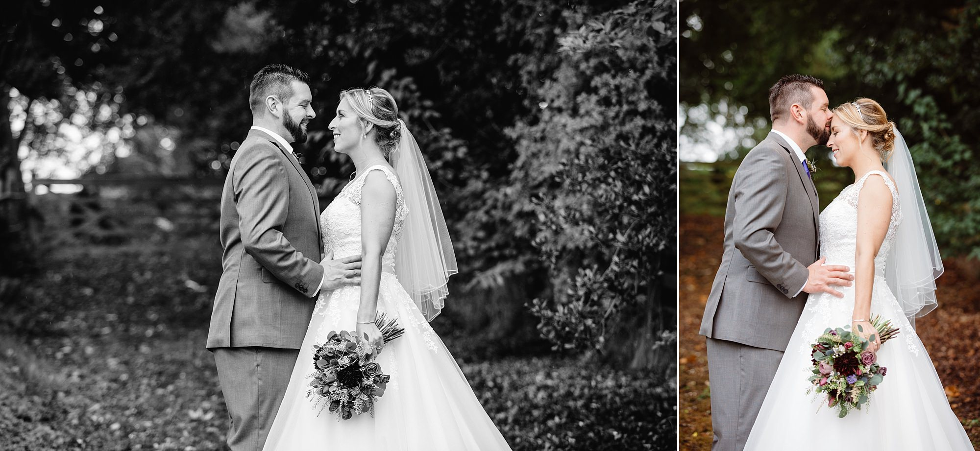 A fun wedding at Plas Isaf - autumn portrait of bride and groom
