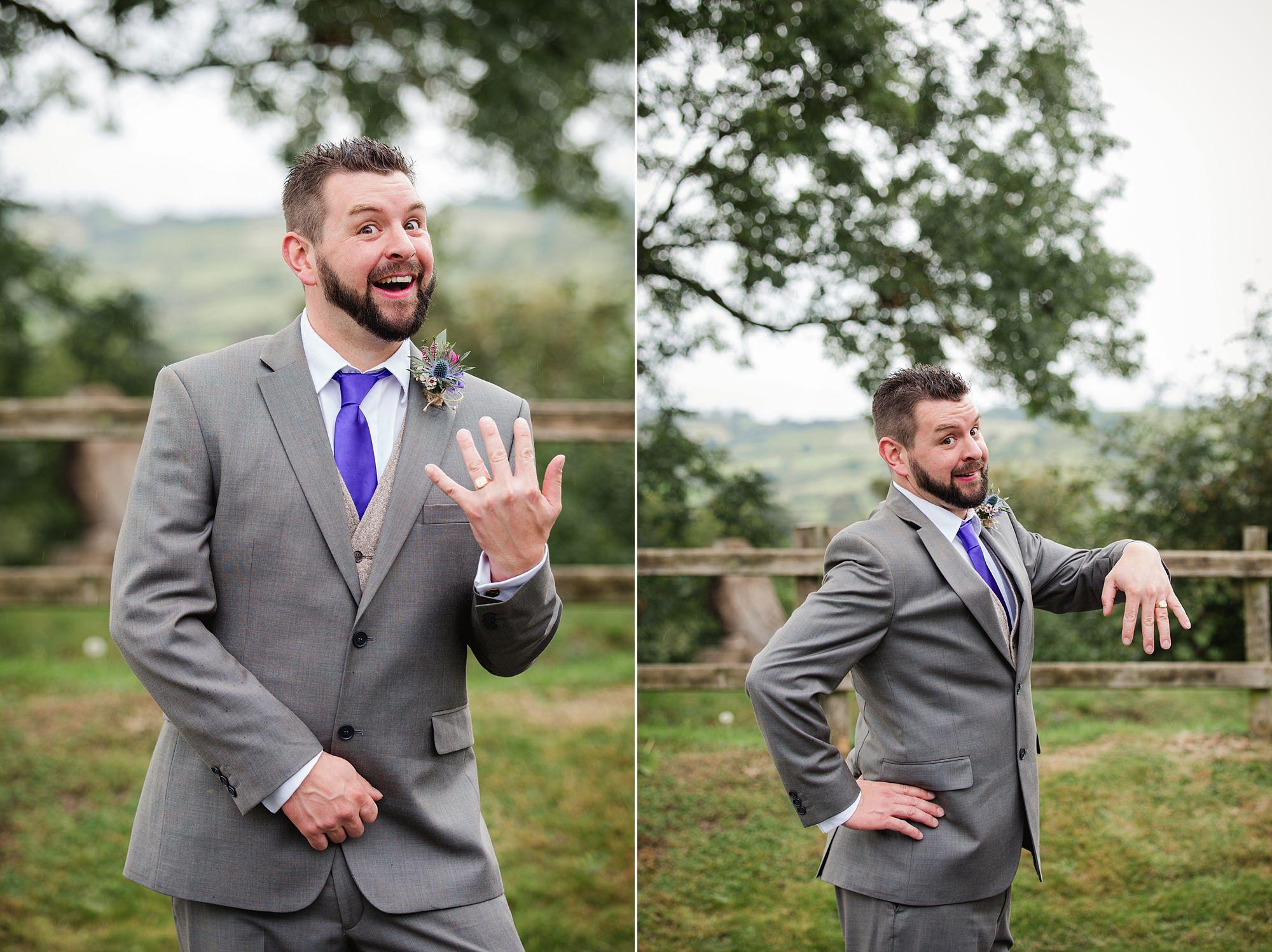 A fun wedding portrait of groom at Plas Isaf wedding
