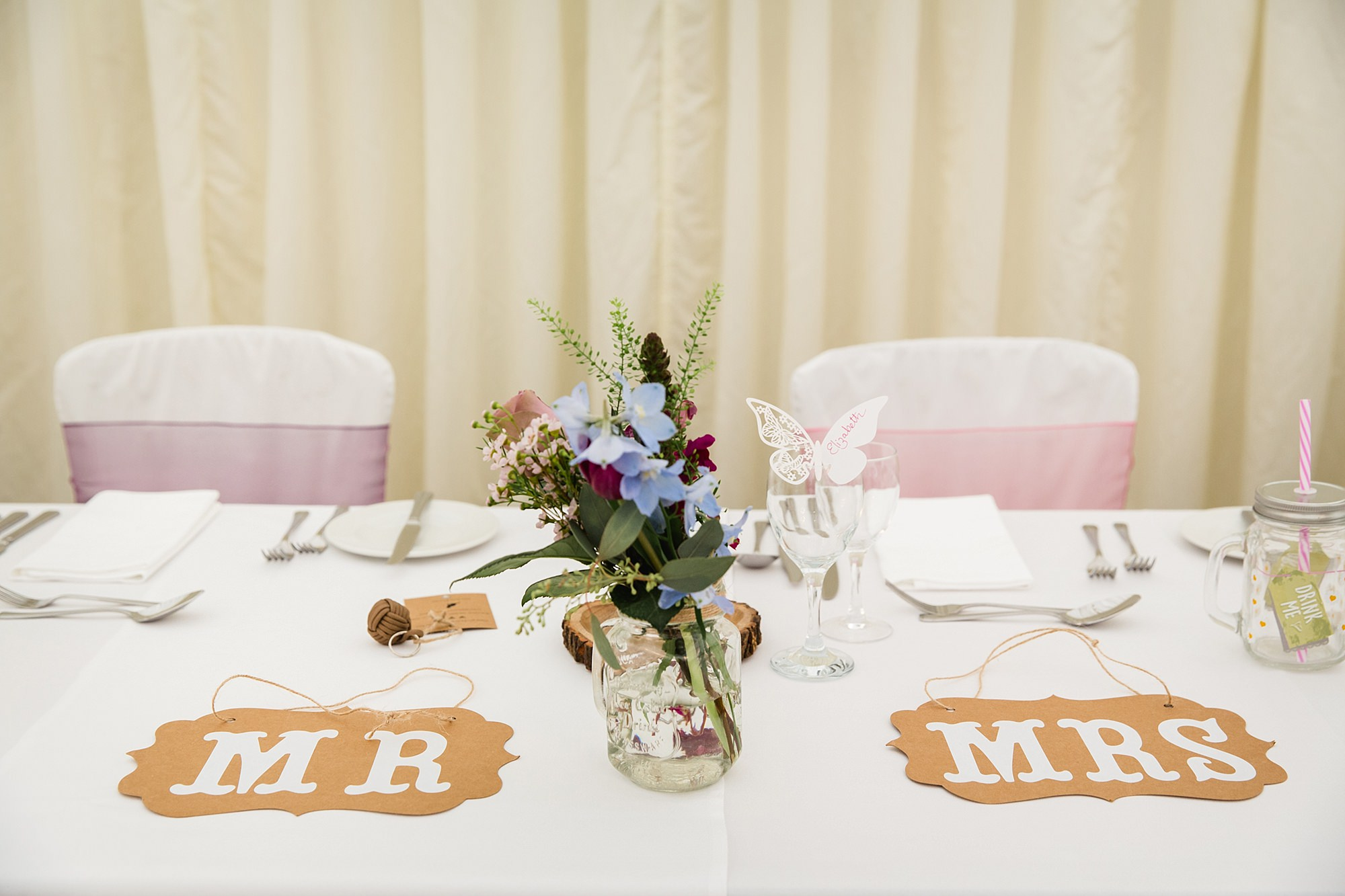 A fun wedding at Plas Isaf table decorations