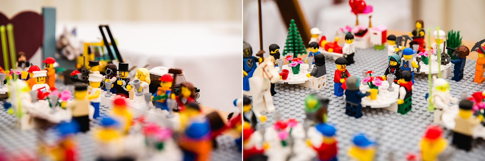 A fun wedding at Plas Isaf close up detail of lego table plan