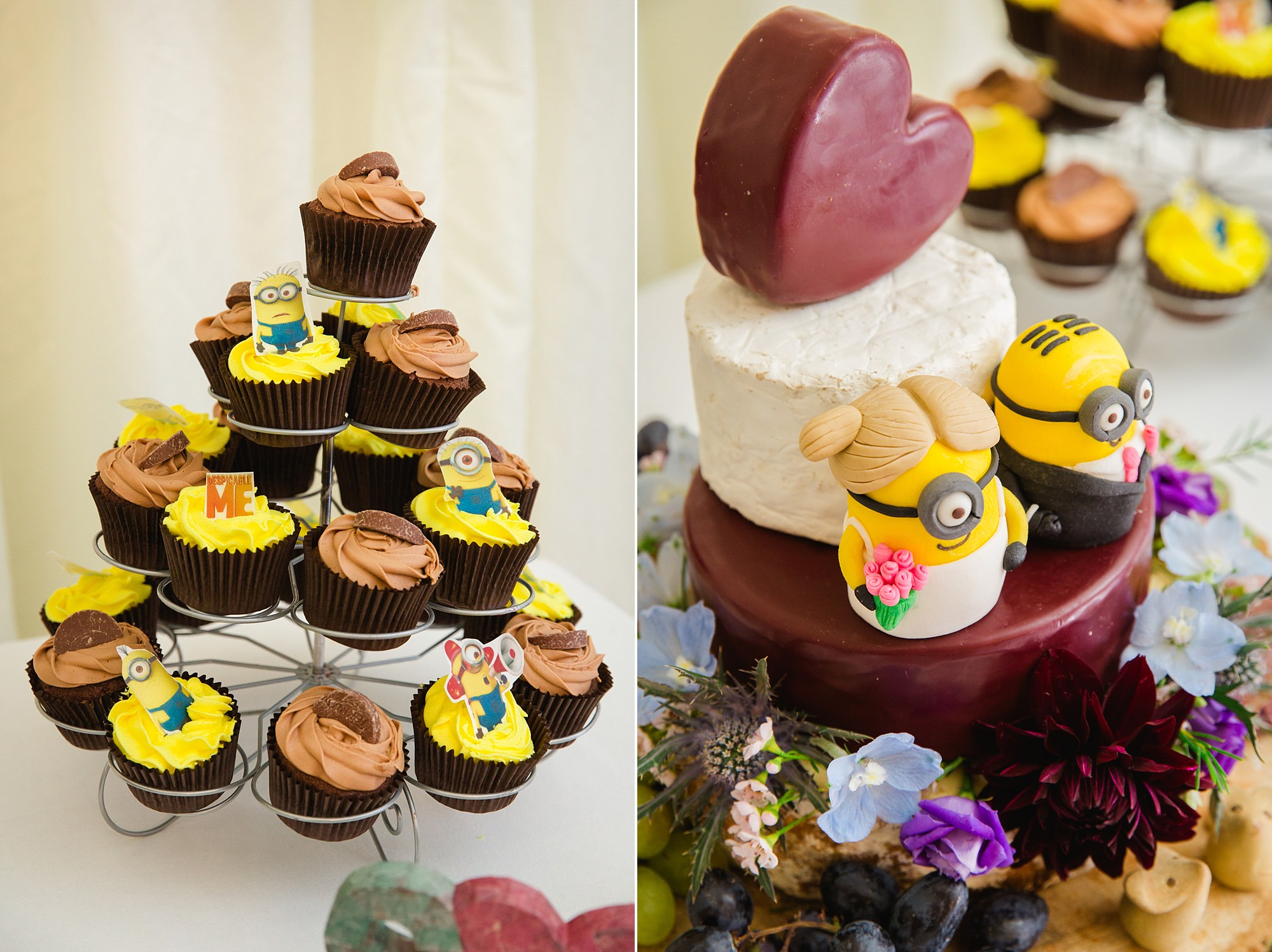 A fun wedding cake with minions and cheese