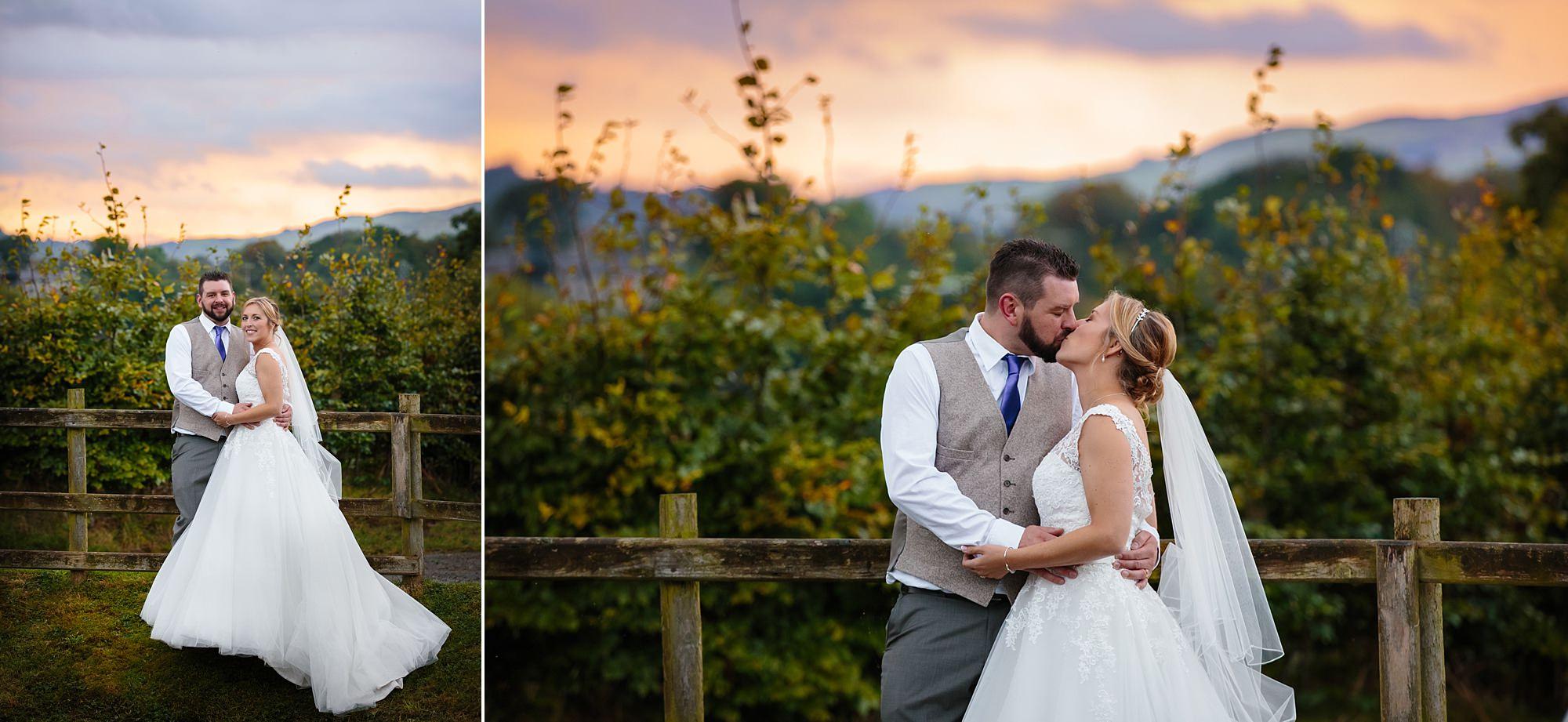 A fun wedding sunset portraits at Plas Isaf
