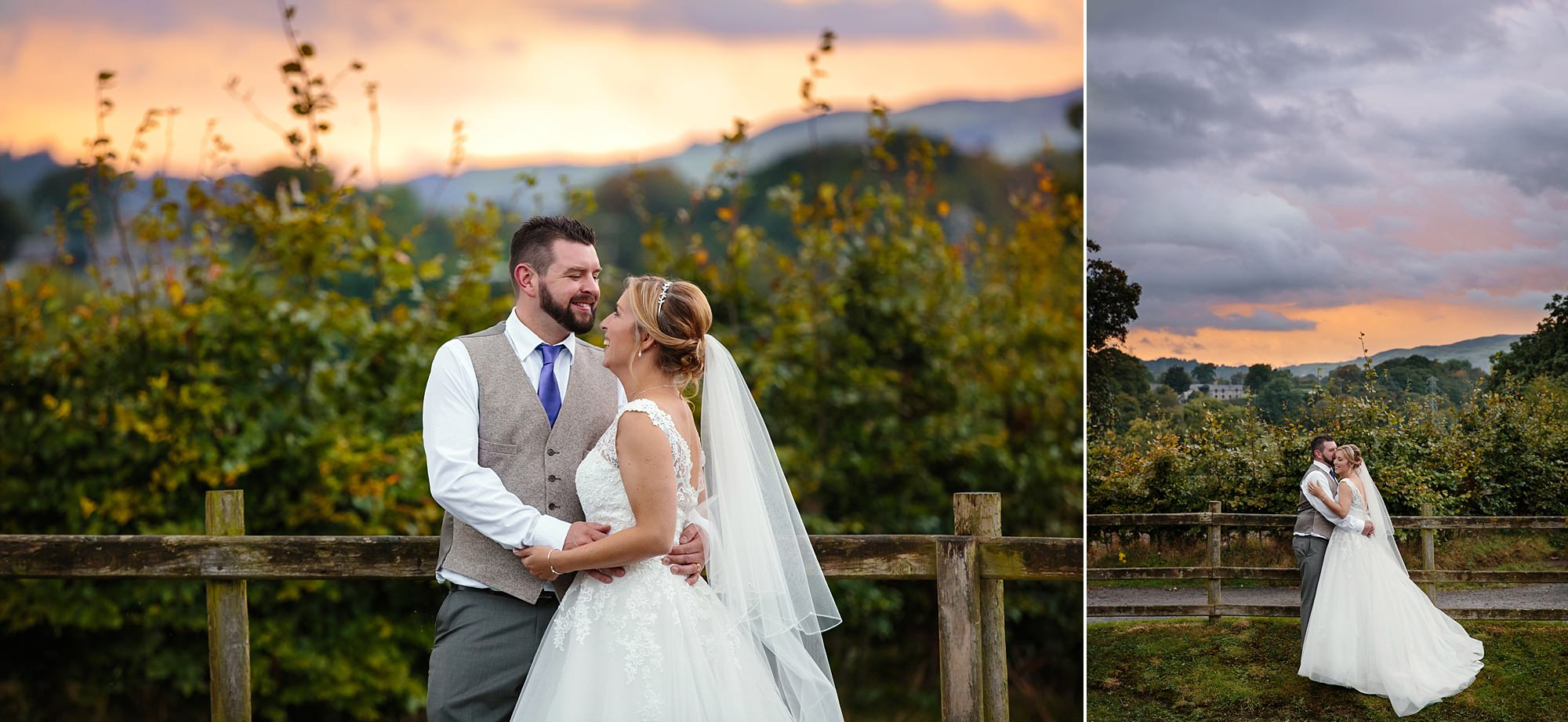 A fun wedding at play Isaf bride and groom at sunset