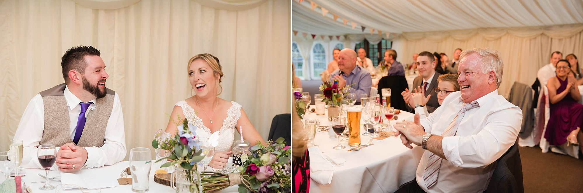 A fun wedding at play Isaf - bride and groom reaction to speeches