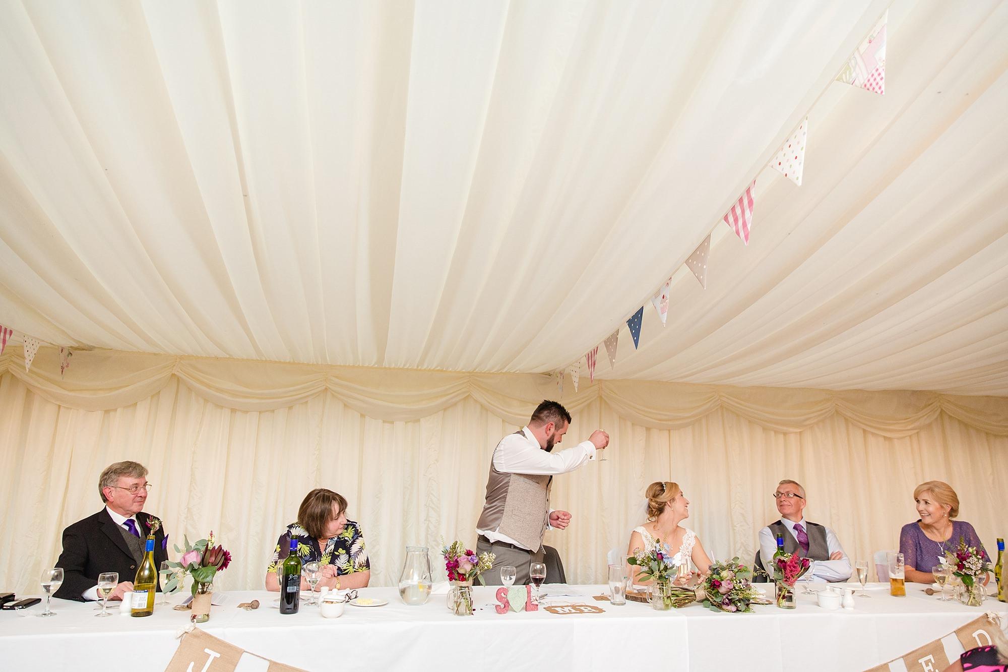 A fun wedding at Plas Isaf groom giving speech