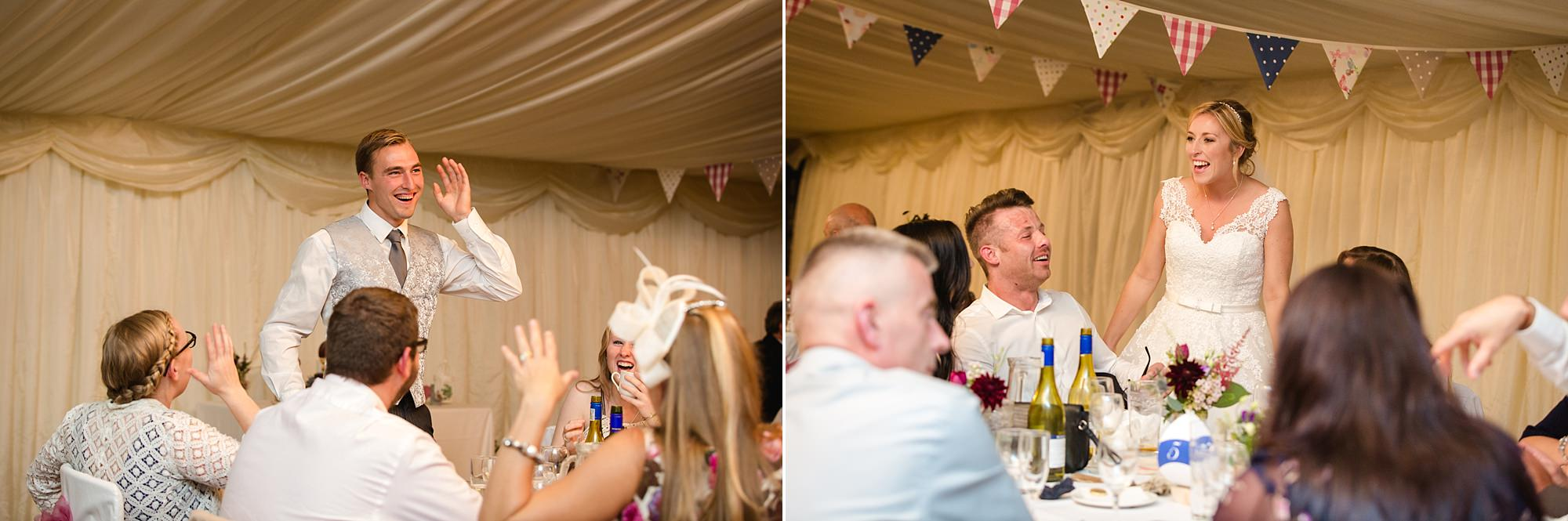 A fun wedding at Plas Isaf bride and groom chatting to guests