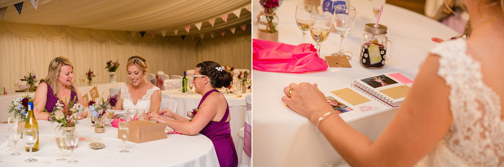 A fun wedding at Plas Isaf - portrait of bride with gifts