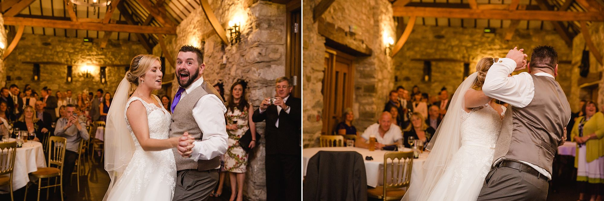 A fun wedding dance with bride and groom at Plas Isaf