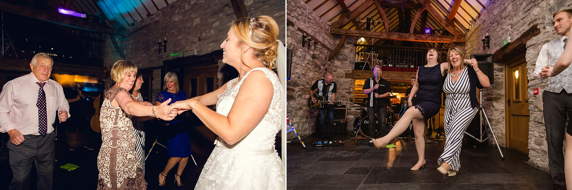 A fun wedding at Plas Isaf with guests dancing