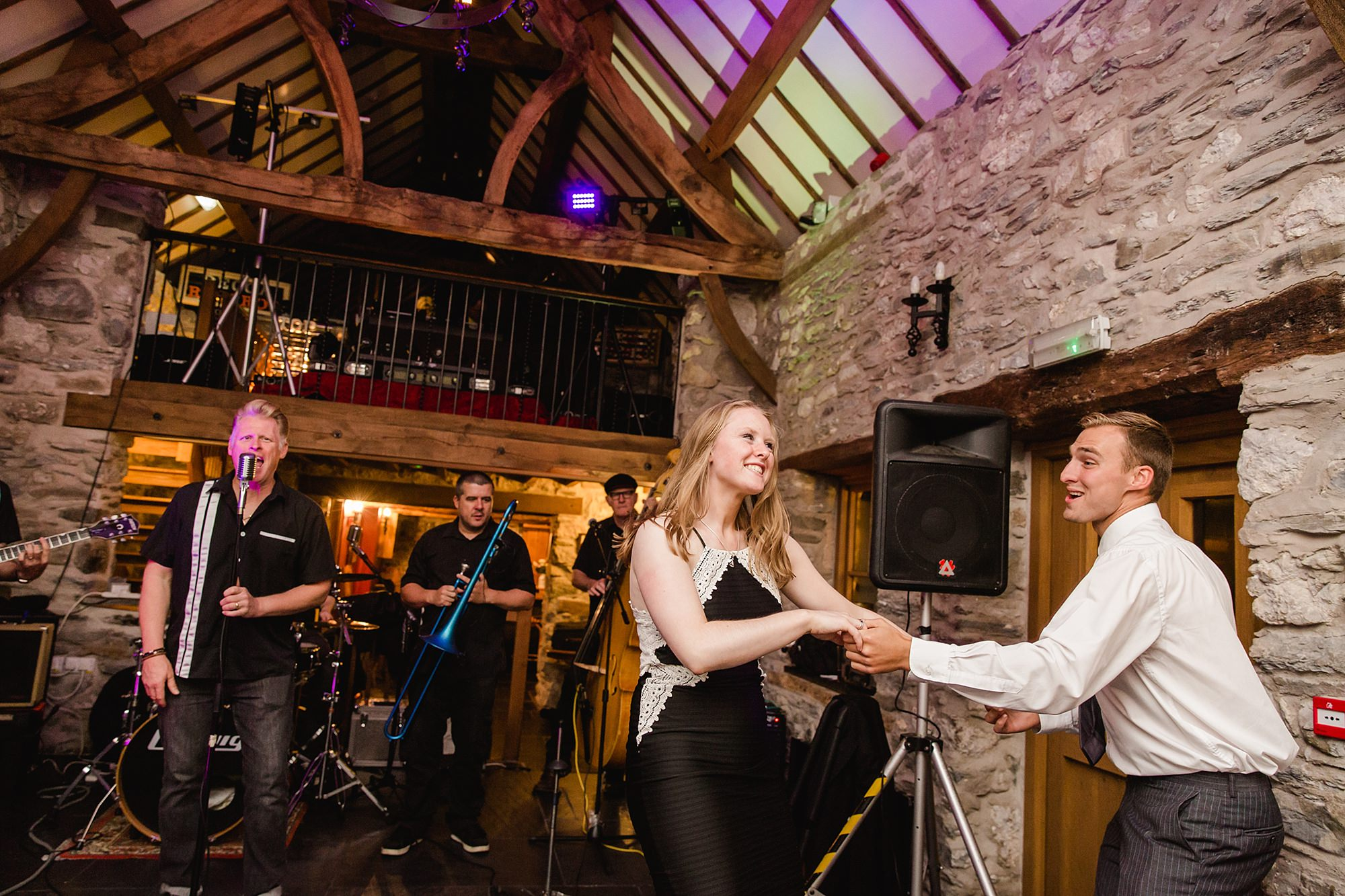 A fun wedding band with dancing at Plas Isaf