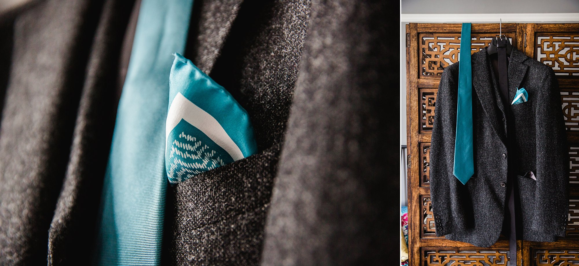 Beacon House wedding a groom's suit jacket hanging up