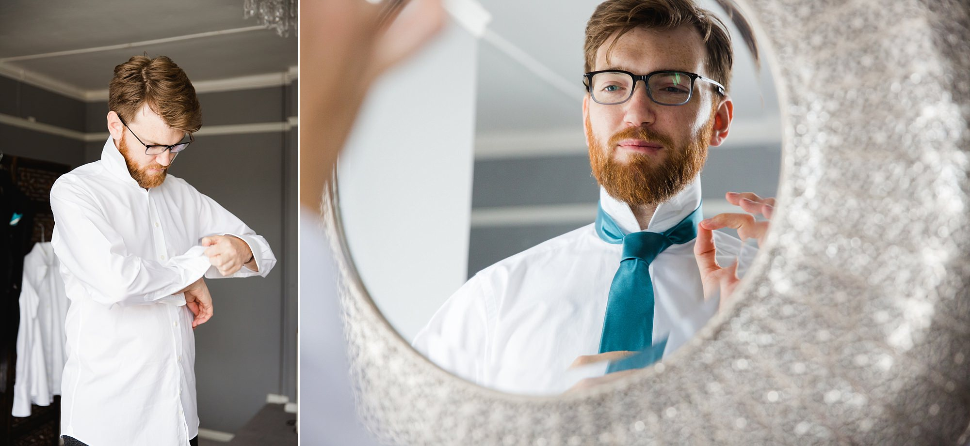Beacon House wedding portrait of groom adjusting his tie in mirror