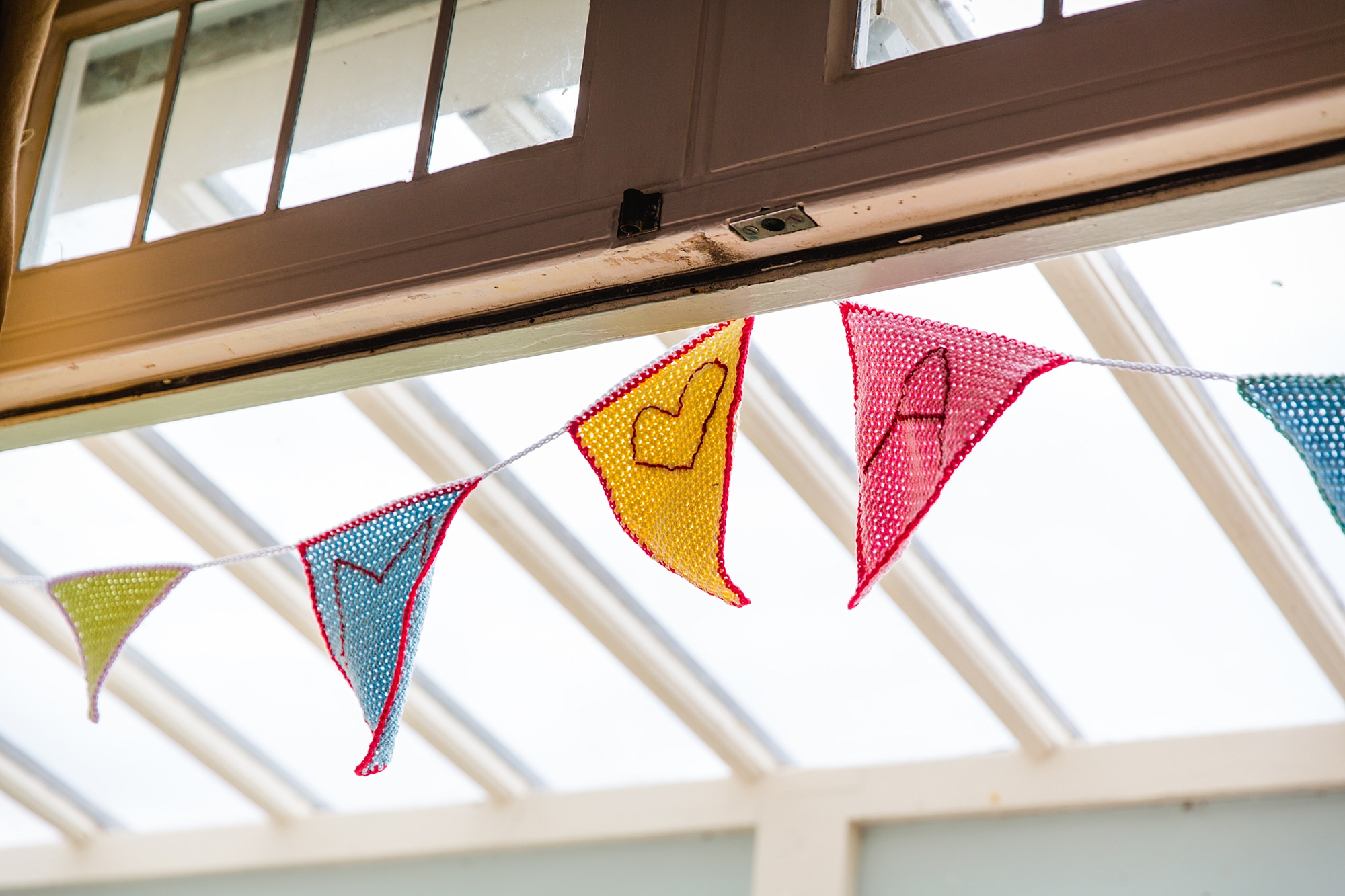 Beacon House wedding close up detail of handmade bunting