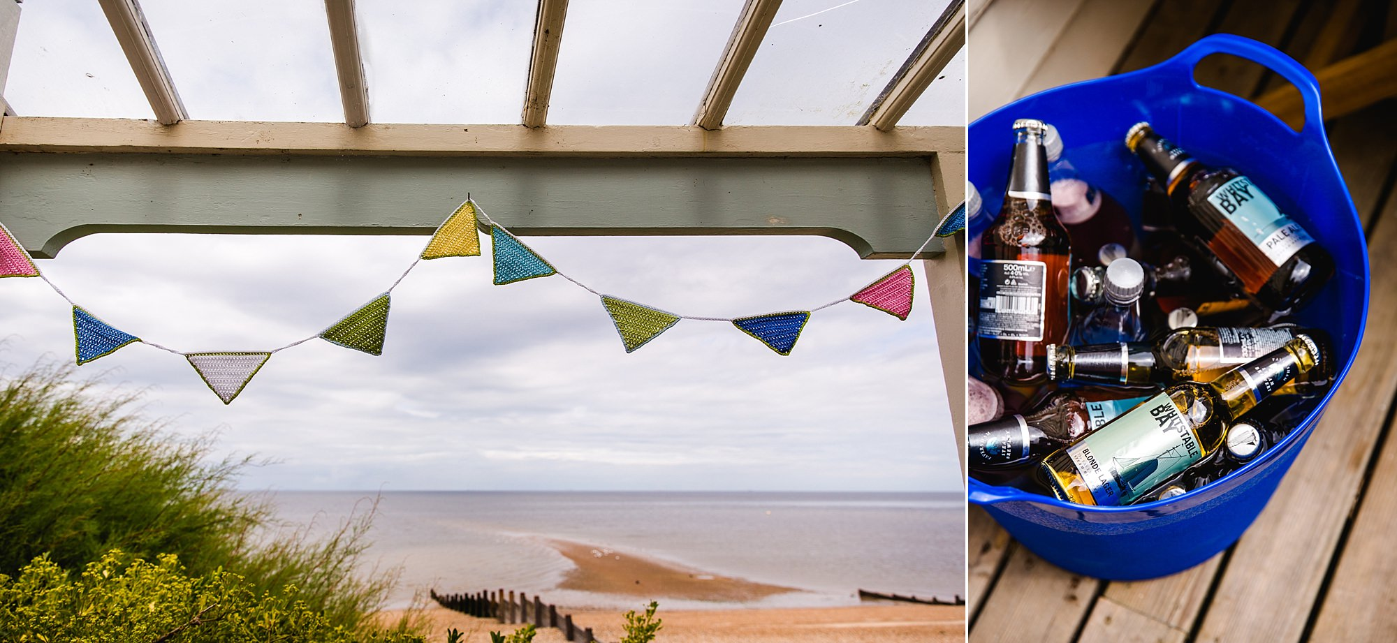 Beacon House wedding close up detail of beach, bunting and beer at wedding