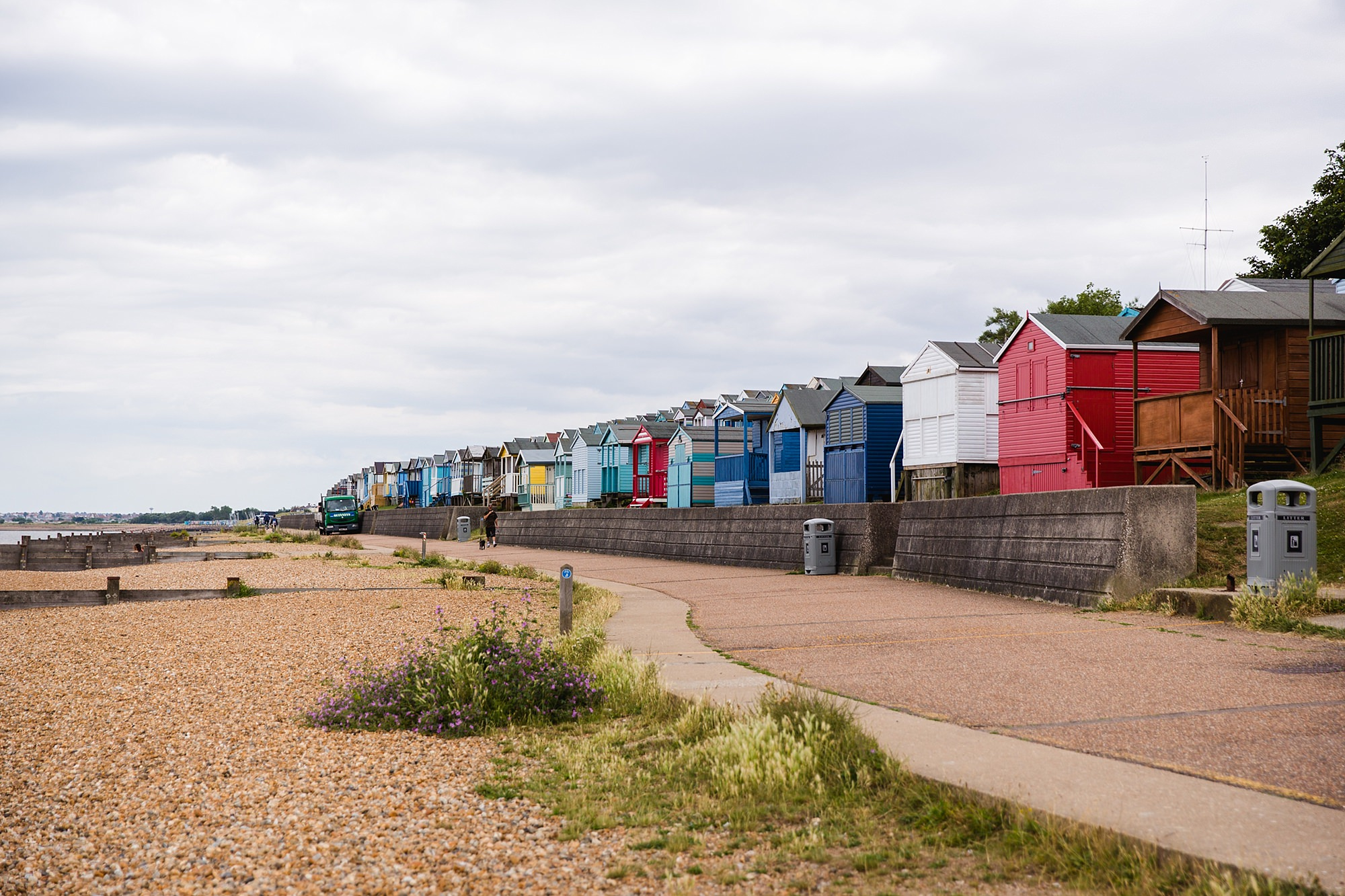 Beacon House wedding picture of beach houses lining the sea front in whitstable