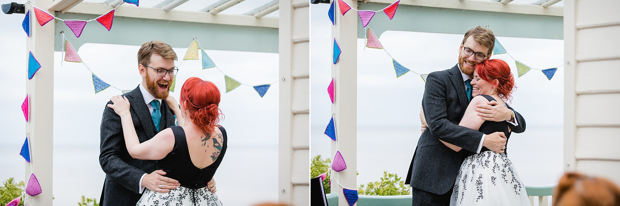 Beacon House wedding portrait of bride and groom laughing at each other during wedding ceremony