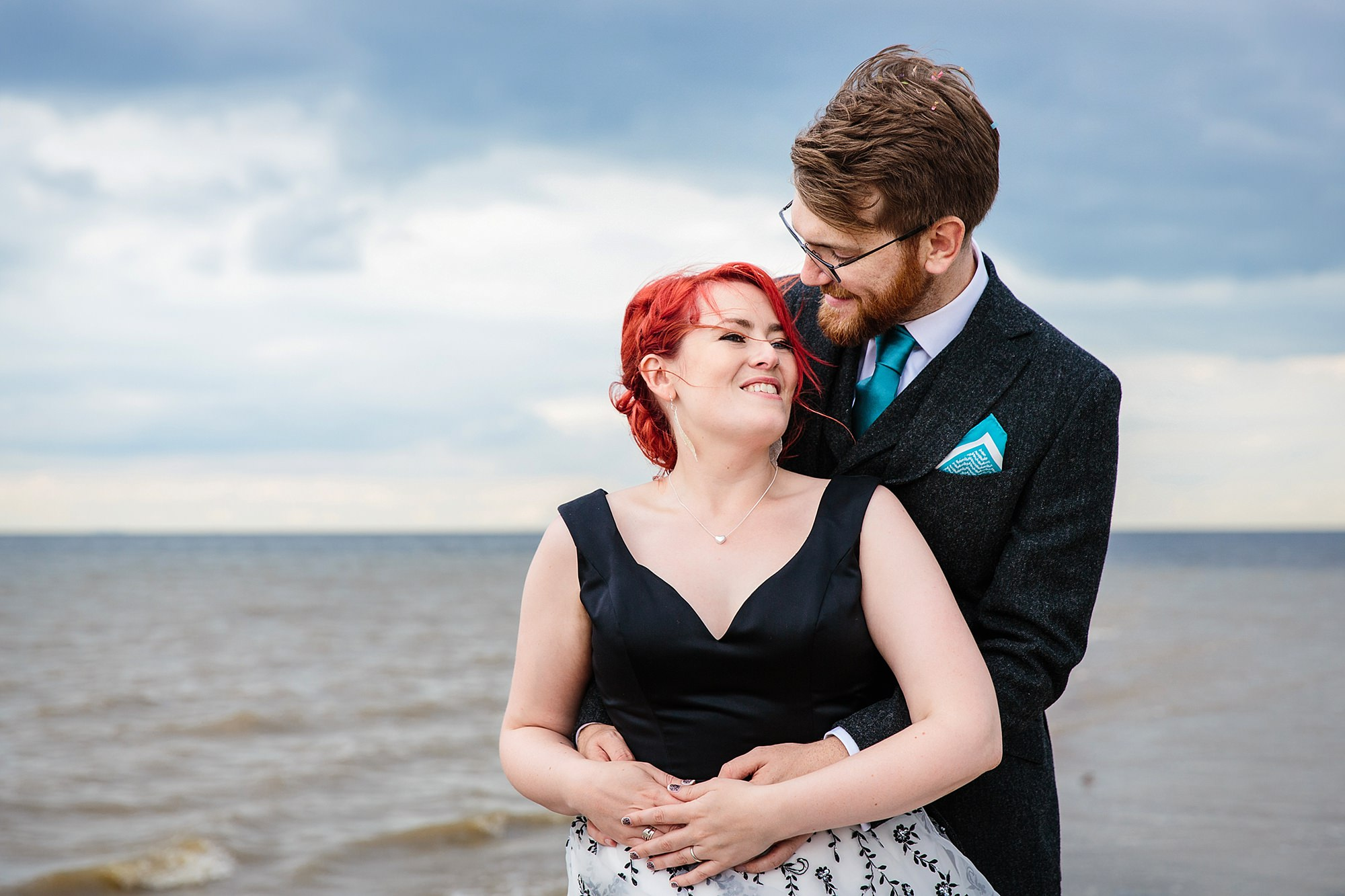 Beacon House wedding a bride and groom portrait in front of the sea in whitstable