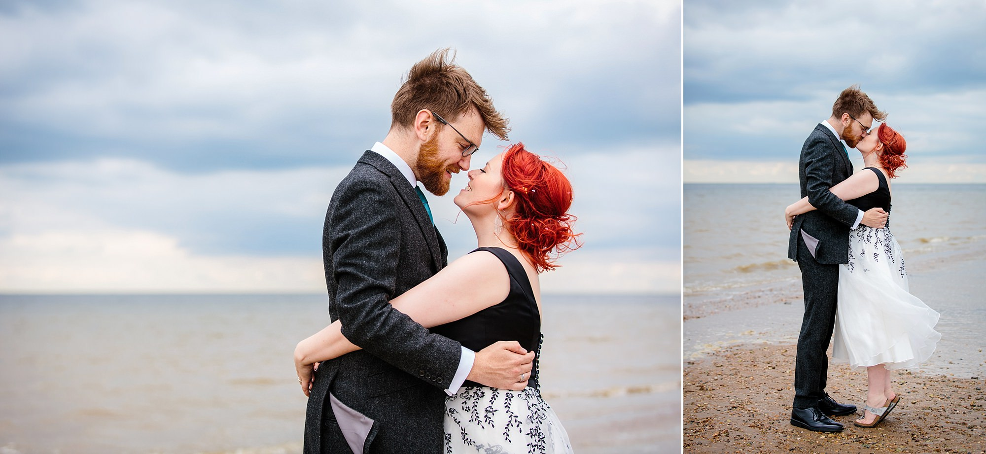 Beacon House wedding bride and groom kiss on whitstable beach
