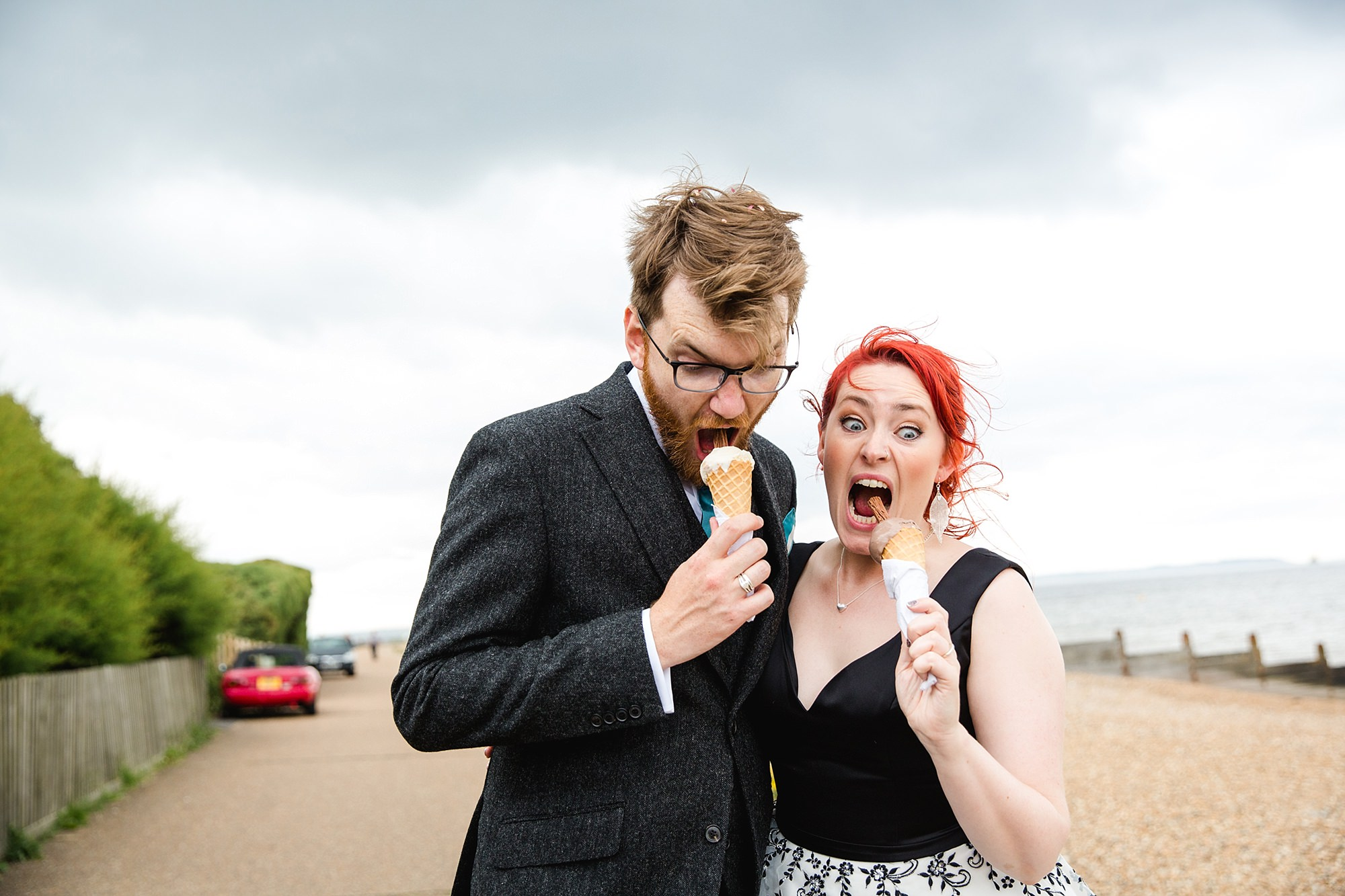 Beacon House wedding funny portrait of bride and groom eating ice cream cones
