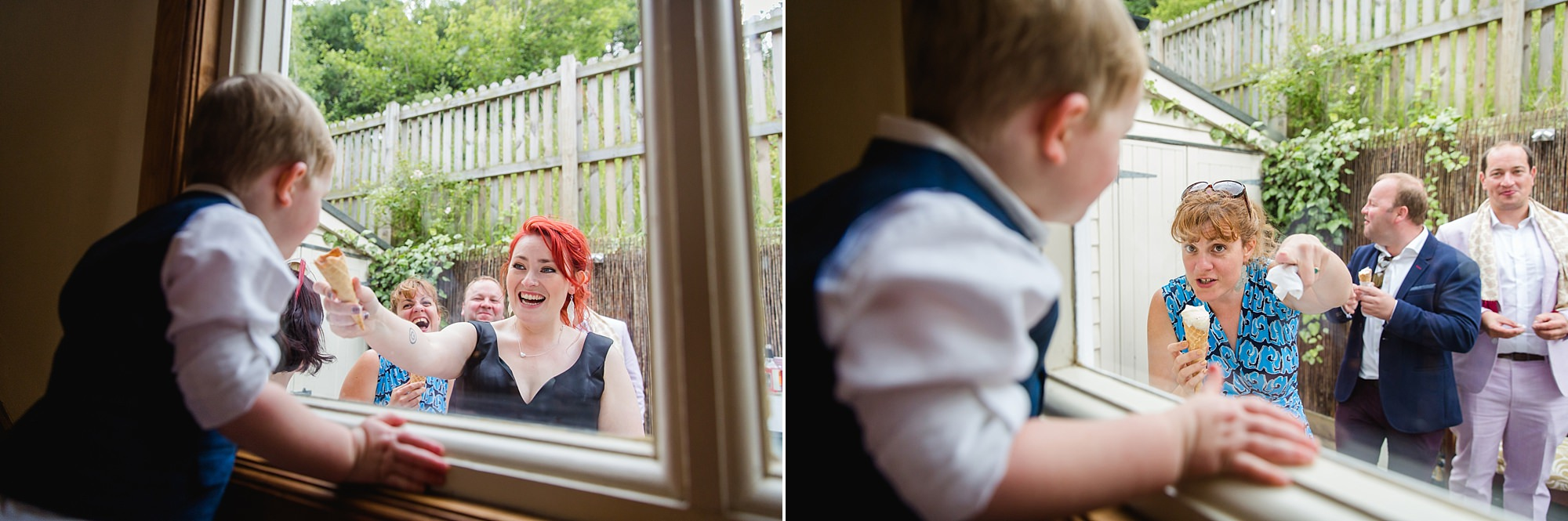 Beacon House wedding guest looks at bride holding ice cream cone through a window