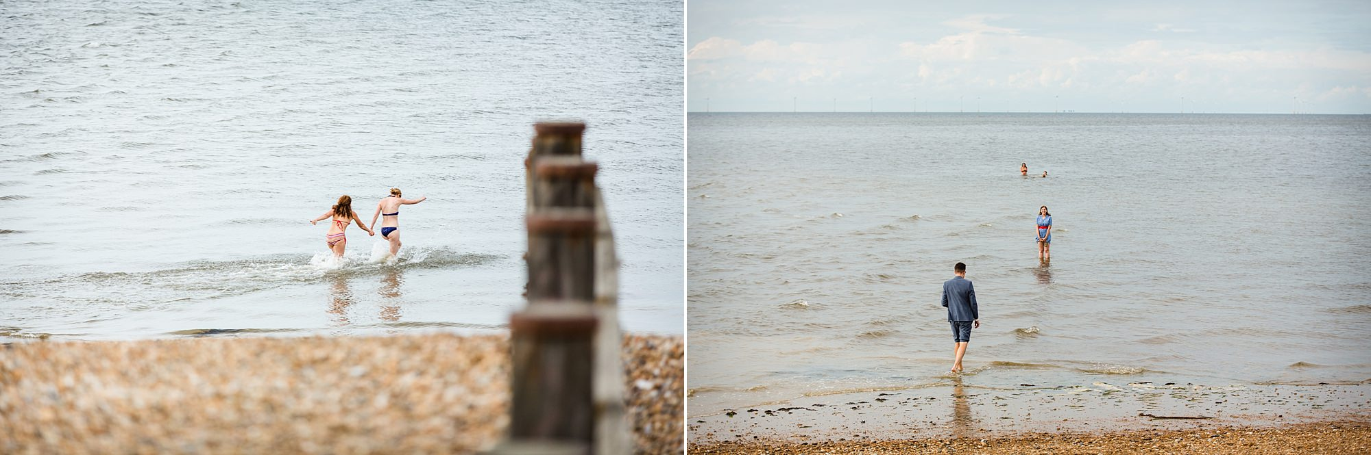 Beacon House wedding guests paddling in the sea in whitstable