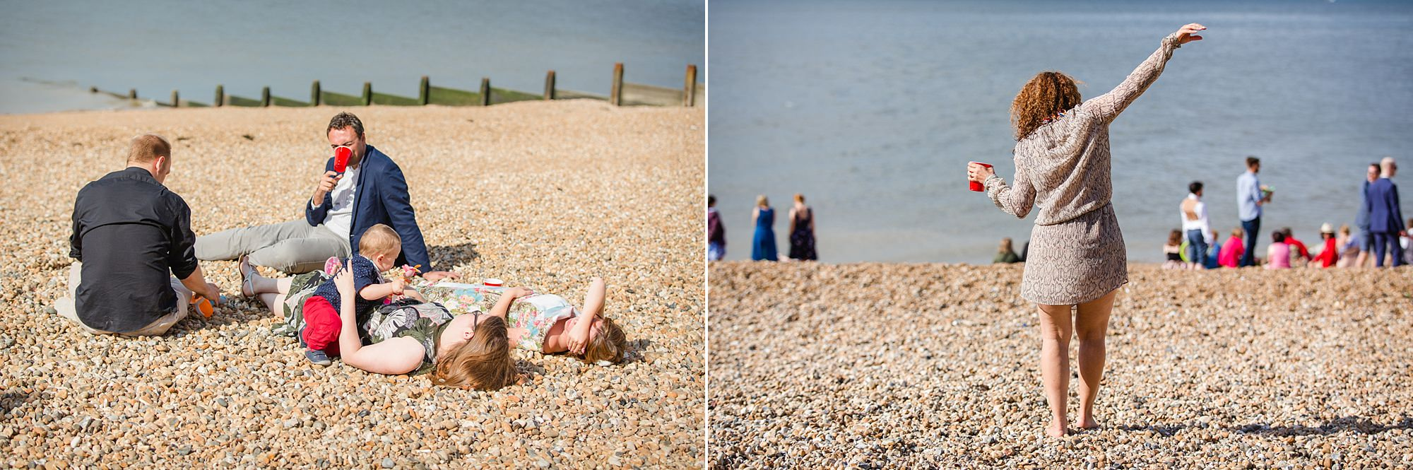 Beacon House wedding guests sunbathe on the beach