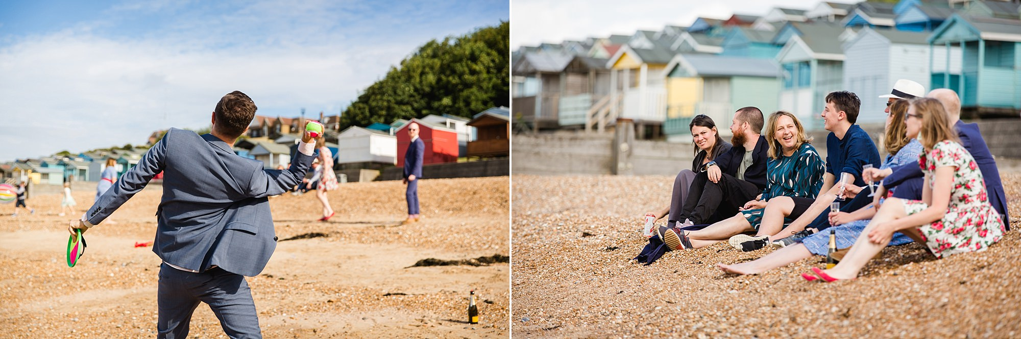 Beacon House wedding guests play games on the beach