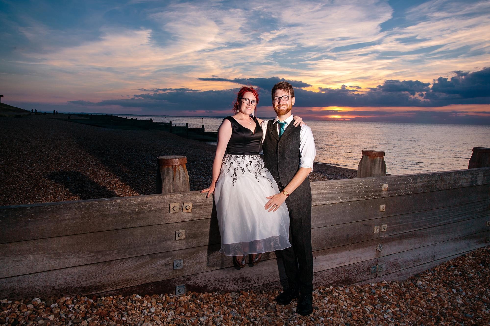 Beacon House wedding portrait of bride and groom during sunset on the beach