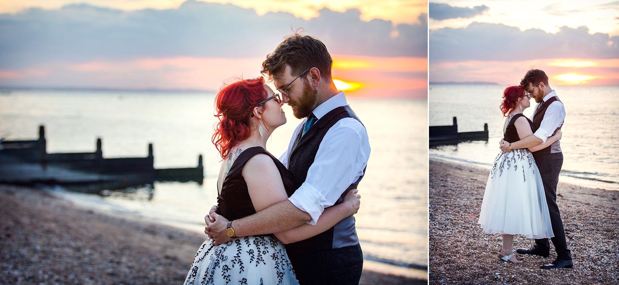 Beacon House wedding portrait of groom and bride during sunset in whitstable