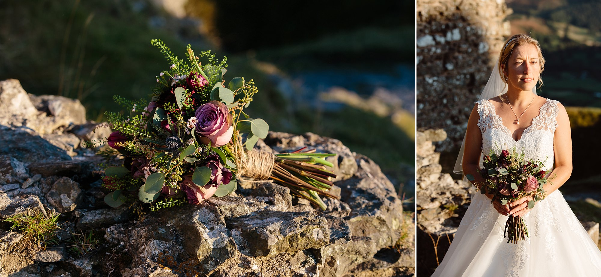 Castell dinas bran wedding photography portrait of bride with her bouquet
