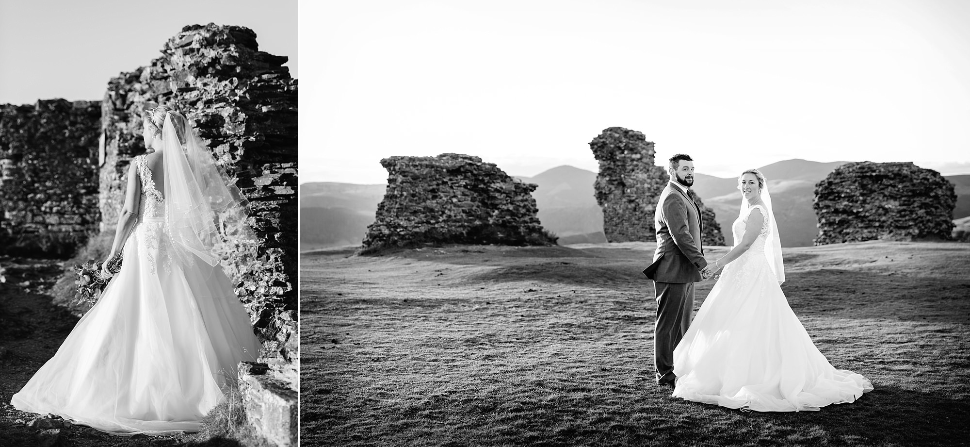 Castell dinas bran wedding photography a bride and groom stood at castle ruins at sunset