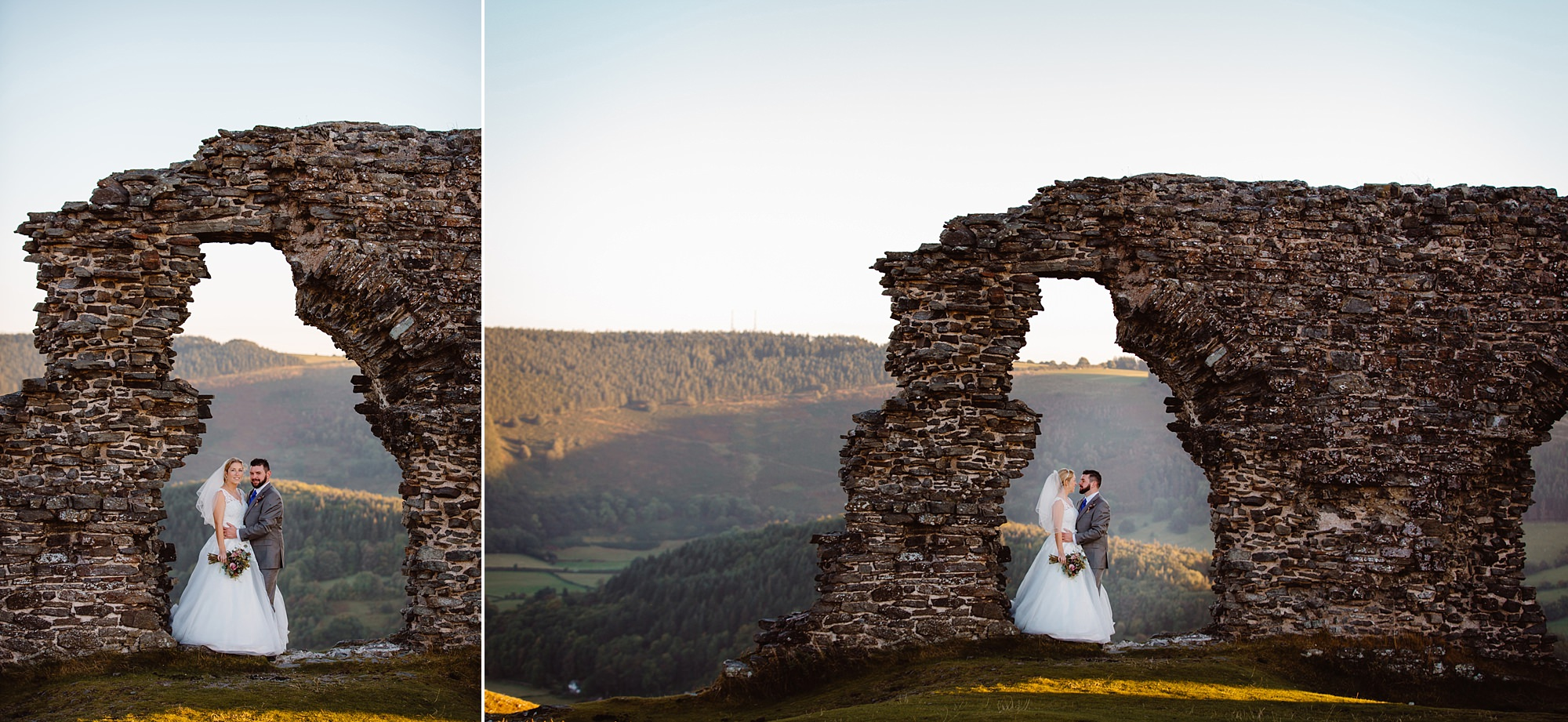 Castell dinas bran wedding photography at sunset - a bride and groom stand underneath ruins of castle arches