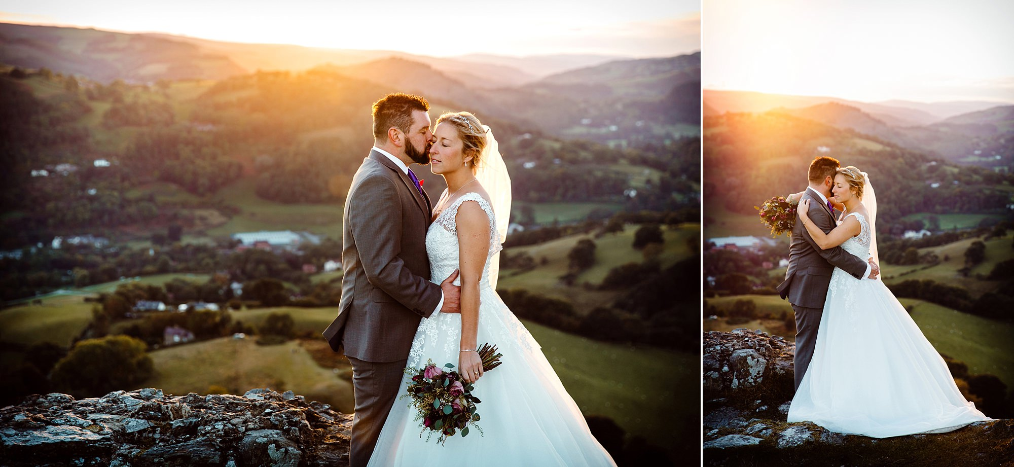 Castell dinas bran wedding photography portrait of bride and groom close together at sunset