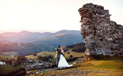 Castell Dinas Bran wedding photography – Liz & Steve's sunset shoot