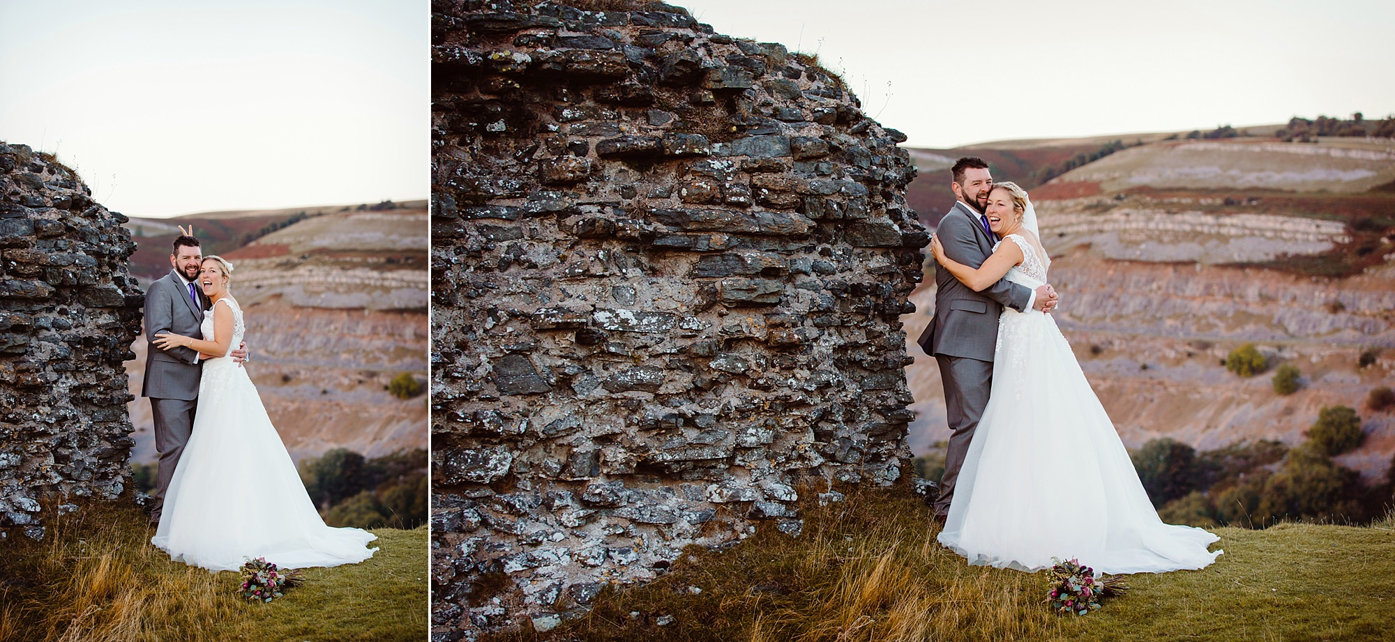 Castell dinas bran wedding photography fun portrait of bride laughing and giving bunny ears